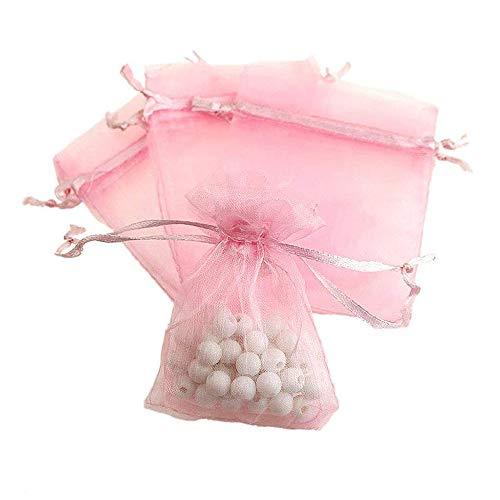 N-K Bolsa de hilo, con cordón, para regalo, accesorios de boda, joyas, color rosa, 100 unidades