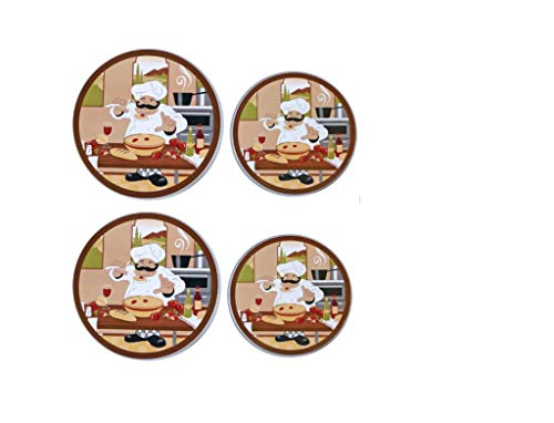 BSS Italian Chef Stove Top Burner Cover Round Chef Pizza Burner Covers for Electric Stovetop Gas Stove Covers (Set of 4)