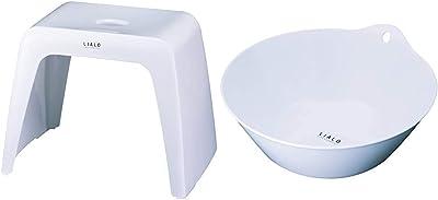 アスベル 風呂椅子 リアロ 高さ30cm Ag 抗菌 ホワイト & リアロ湯おけ ホワイト【セット買い】