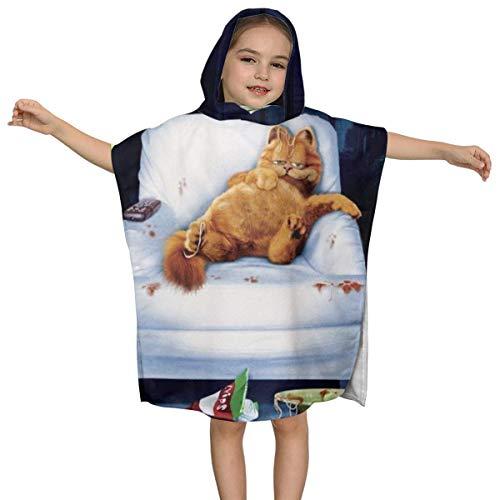 IUBBKI Garfield Kids Kapuzen Badetuch Premium Qualität Soft Ultra Beach Wrap Poncho Cape Badeanzug Cover Up für Strandpool