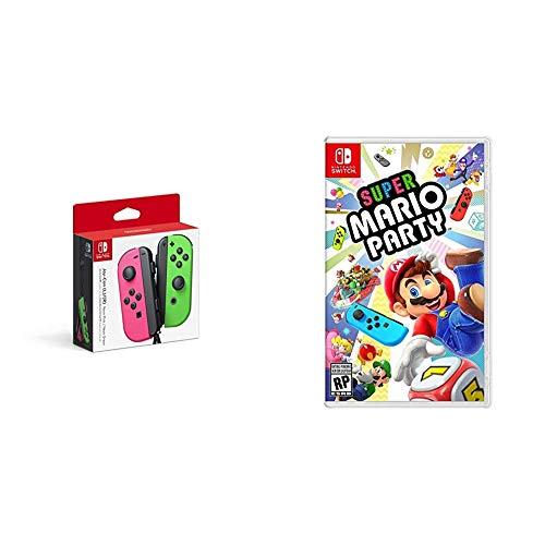 Nintendo Joy-Con (L/R) - Neon Pink / Neon Green Bundle with Super Mario Party