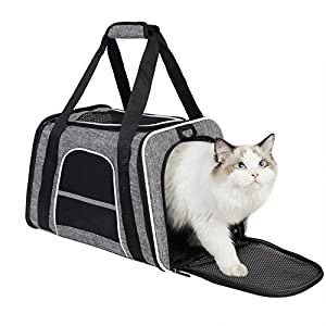 HiCaptain Soft Cat Carrier with Top Mesh Window – Pet Carrier Breathable for Medium Cats and Small Dogs Puppies up to 13 lb (Gray)