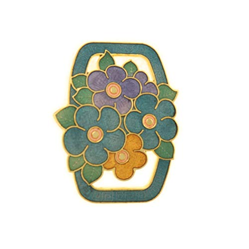 behave Mujer Broche Rectangular con Flores Hecho de Esmalte - Verde - 4,3cm tamaño