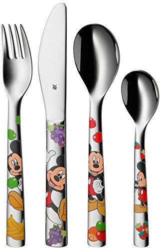 WMF Disney Mickey Mouse Kinderbesteck 4-teilig, mit Namensgravur, ab 3 Jahren, Cromargan Edelstahl poliert, Gravurbesteck für Taufe oder Geburtstag