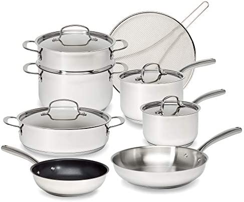 Goodful Classic Stainless Steel Cookware Set with Tri Ply Base Impact Bonded Pots and Pans Dishwasher product image