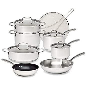Goodful Classic Stainless Steel Cookware Set with Tri-Ply Base Impact Bonded Pots and Pans Dishwasher Safe 12-Piece