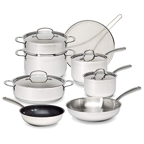 Goodful Classic Stainless Steel Cookware Set with TriPly Base Impact Bonded Pots and Pans Dishwasher Safe 12Piece