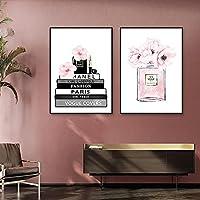 香水瓶北欧ポスターフラワーファッションブックキャンバス絵画プリントモダンウォールアートピンクの写真女の子の部屋の装飾