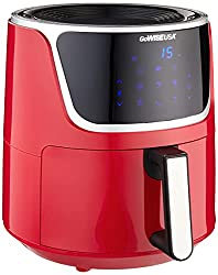 Image of GoWISE USA GW22957 7-Quart Electric Air Fryer with Dehydrator & 3 Stackable Racks, Digital Touchscreen with 8 Functions + Recipes, 7.0-Qt, Red/Silver: Bestviewsreviews