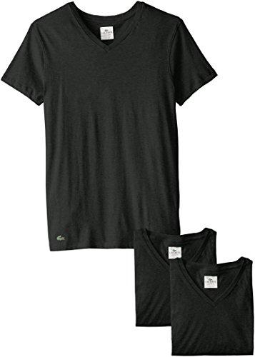 Lacoste Herren 3PK Supima Cotton Vneck Tee T-Shirt, schwarz, Small (3er Pack)
