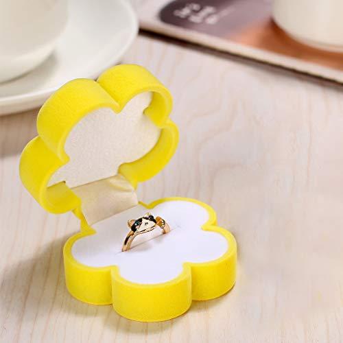 DFVVR Sun Flower Earrings Display Box Necklace Ring Gift Jewelry Case Velvet