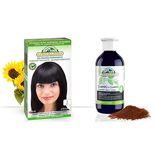 Pack Coloracion NEGRO 1 Permanente 140ml + Champu Henna NEGRO 300ml - Tinte sin amoníaco, resorcinol ni parabenos. Los champús a la Henna potencian la durabilidad del color