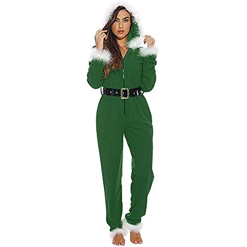 Plush Christmas Jumpsuit Santa Pajamas with Belt Women Sexy Babydoll Lingerie Adult Child Santa Claus Velvet Hooded Cloak Cape Robe (Green, XL)