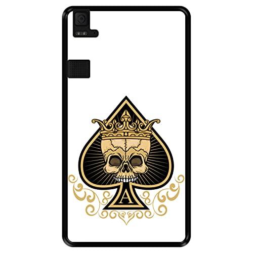 Hapdey silikon Hülle für [ Bq Aquaris E6 ] Design [ Spielkarte, Pikass, gotischer Königschädel ] Schwarze Flexibles TPU