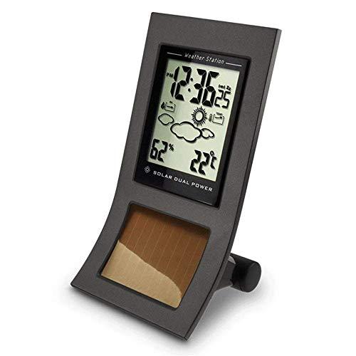 Reloj de monitoreo meteorológico para el hogar, para monitoreo del tiempo, aleación para interiores y exteriores, higrómetro, estación meteorológica (color: negro), negro y negro