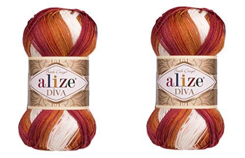 100 % Mikrofaser-Acrylgarn Alize Diva Batik, seidiger Effekt, Häkelkunst, Spitze, Handarbeit, 2 Knäuel, 200 g, 766 Yards 7107