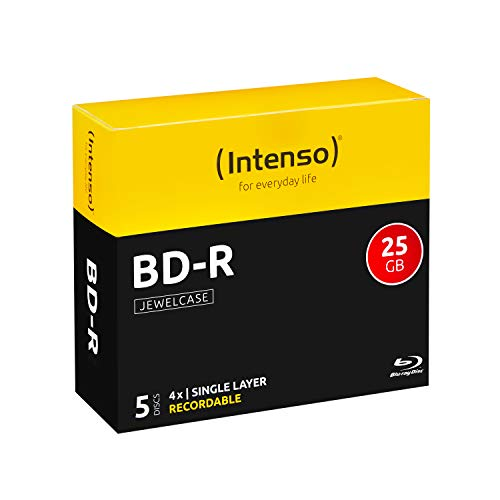Intenso BD-R 25GB, 4x Speed, 5er Pack Jewelcase Blu-Ray Rohlinge