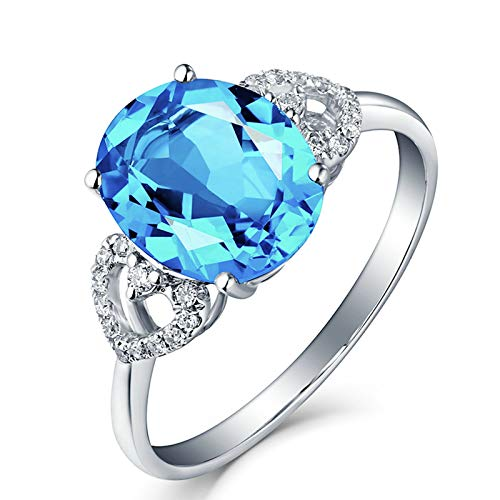 Socoz Mujer Unisex oro blanco 18 quilates (750) ovalada Blue...