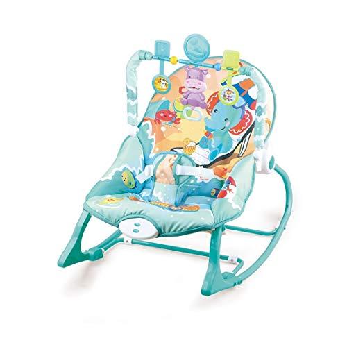 Cadeira Bebê descanso Balanço Musical Vibratória Azul Oceano