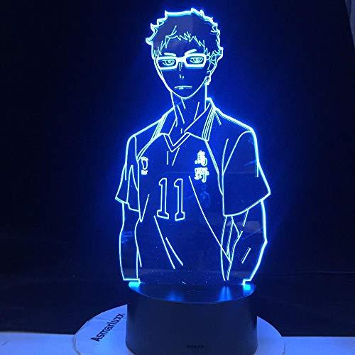 3D Anime Nachtlicht Kei Tsukishima LED Lampe Haikyuu Manga Geschenk Lampe Otaku Gift-Touch Fernbedienung