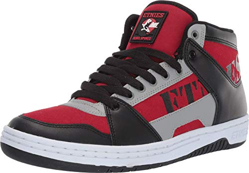 Etnies Men's MC Rap Hi Top Sneaker Shoes Black/Red/Gray 10.5