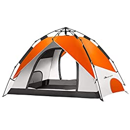 MOON LENCE Pop Up Tent Family Camping Tent 4 Person Tent Portable Instant Tent Automatic Tent Waterproof Windproof for…
