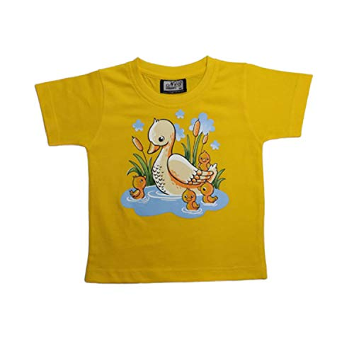 Neo Garments Kid's Boys & Girls Round Neck Cotton T-Shirt | Duck | (Yellow) | Size - (1Yrs to 7Yrs). | (Large - (4YRS - 5YRS), Yellow)