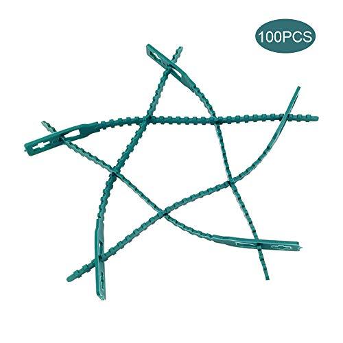 Wankd Plantenbevestiging, Plantenbinder Planten Binder 13,5 cm lang - 100 stuks Set stabiele clips voor kleine en grote scheuten Spalier Rozenbogen Trellises 13.5CM groen
