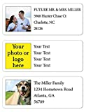Personalized Return Address Labels Photo - Set of 120 Custom Photo or Logo Mailing Labels for Envelopes, Self Adhesive Flat Sheet Rectangle Personalized Name Stickers