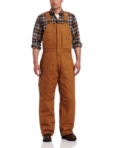 Dickies Men's Insulated Bib Overall, Brown Duck, Extra Large-Regular