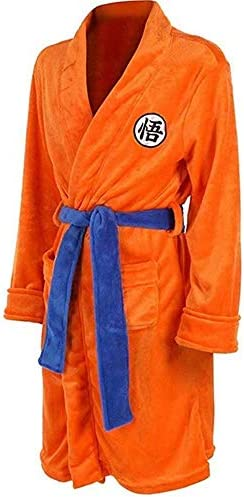 RRSHUN Mens Kimono Bathrobe Sleepwear Casual Knee Length Orange Robe Pajamas Cloak Large product image