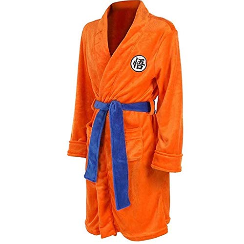 RRSHUN Mens Kimono Bathrobe Sleepwear Casual Knee Length Orange Robe Pajamas Cloak, Large