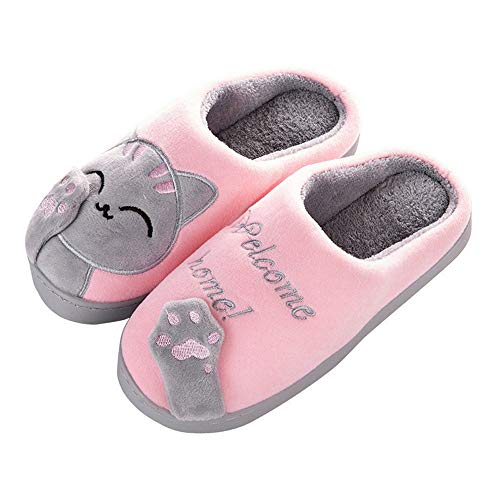 Aniywn Women Winter Home Indoor Warm Fleece Slippers Cat Non-Slip Warm Indoors Bedroom Floor Shoes(Pink,36-37)