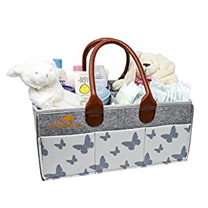 Aylanmoon Baby Diaper Caddy Organizer with PU Handles – Breastfeeding Storage and Adjustable Bin, Portable Nursery Bag for Changing Table and Car- Eco-Friendly Materiel- Great Gift Basket for Shower