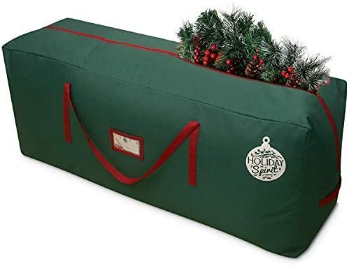 HOLIDAY SPIRIT Christmas Tree Storage Bag. Heavy-Duty 600D Oxford Material Durable Reinforced Handles, Zipper, Waterproof