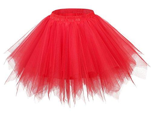 FEOYA Falda Tutu de Ballet para Mujer Skirt Corta Elegante con Capas Cintura Elástica Disfraz Fiesta Rojo 38CM