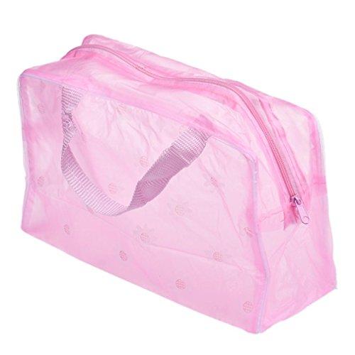 Cosmetic Bag Femmes,Xinan Sac d'organisateur portatif de poche de brosse à dents de lavage de voyage de toilette cosmétique de maquillage (23cm*13cm*9cm / 9.1 * 5.1 * 3.5, Rose)