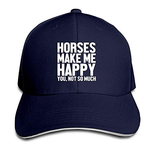 Men & Women Dyed Cotton Adjustable Plain Baseball Cap Horses Make Me Happy You Not So Much Trucker Hat