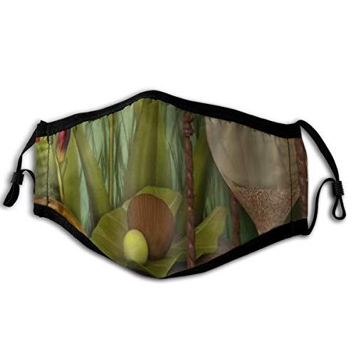WINCAN Gesichtsbedeckung Taschenuhr Sanduhr und Orchidee Sturmhaube Unisex Wiederverwendbare Winddichte Anti-Staub-Mund Bandanas Halsmanschette mit 2 Filtern