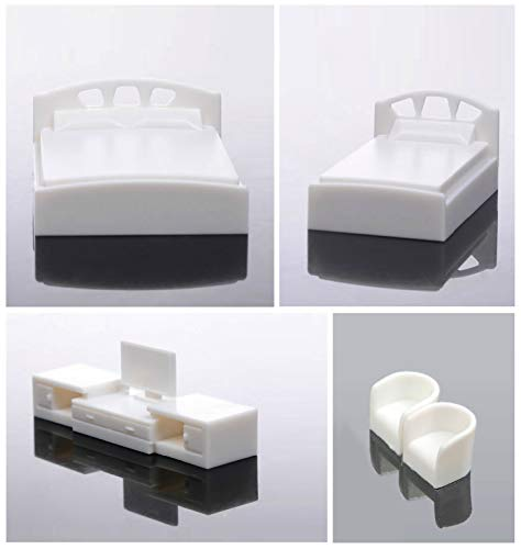 Archifreunde Juego de 5 muebles de dormitorio modelo 1:50/75/87, escala 0/00/H0, cama doble + cama individual + TV + 2 sillones (1:75/87)