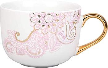 Barbie Coffee Latte Mug - Pretty Pinache Gold and Pink Paisley Design - 20 oz
