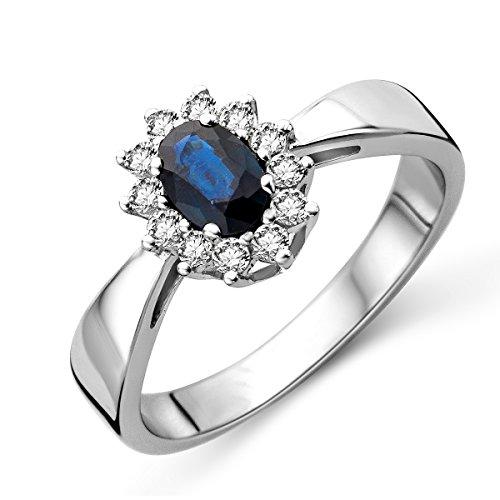 Miore Ring Damen 0.23 Ct Diamant Blume Cluster VerlobungsRing mit Edelstein/Geburtsstein Saphir in Blau Ring aus Weißgold 9 Karat / 375 Gold, Schmuck mit Diamant Brillanten