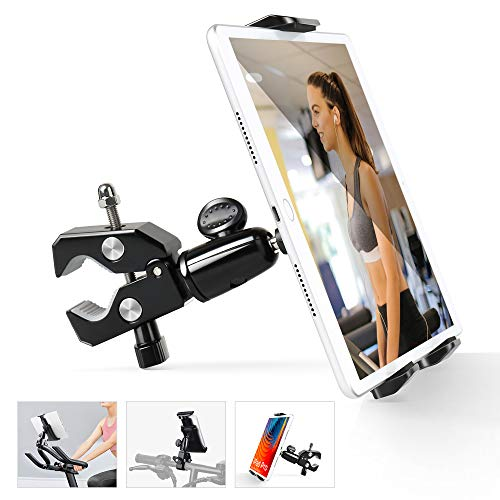 Elitehood Bike Phone Tablet Mount Holder, Portable Metal 4-11.9'' iPhone iPad Mount Holder, 360° Rotatable Tablet Mount for Gym Treadmill, Stationary Bike, Spin Bike, Microphone Stand, Mic Stand
