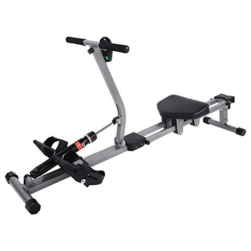 Folding Exercise Rowing Machine, Steel Rowing Machine with Resistance and Adjustable Height with Display of Time, Distance and Calories Consumption