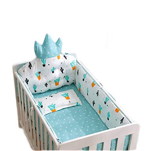 Cuna LAN Parachoques for niños, Transpirable y Segura, la Ropa de Cama for niños anticolisión se Puede Lavar a máquina, sin Agente Fluorescente, sin formaldehído (Color : Blue, Size : 120x65cm)