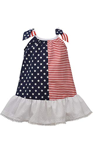 Bonnie Jean Girl's 4th of July Dress - Stars and Stripes Flag Dress (4T)