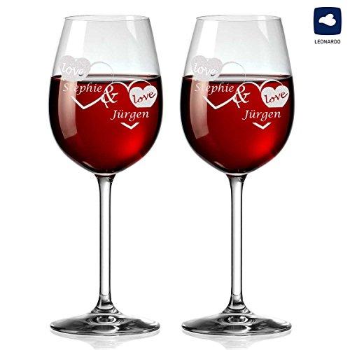 polar-effekt 2 Leonardo Weingläser Personalisiert mit Gravur - Geschenkidee zur Valentinstag für Paare - Motiv - Liebe mit Herzen