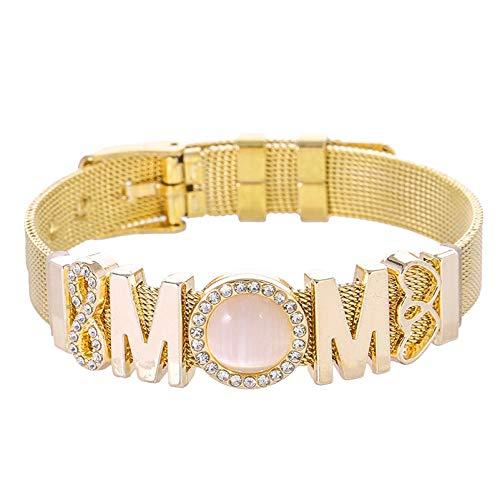 KUMADAI Día de la Madre Regalo, Ajustable Pulsera de Acero Inoxidable Los Mejores Regalos para el Día de la Madre y el Cumpleaños,Oro