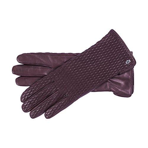 Roeckl Damen Chic Ruffle Handschuhe, Rot (Wine 488), 7