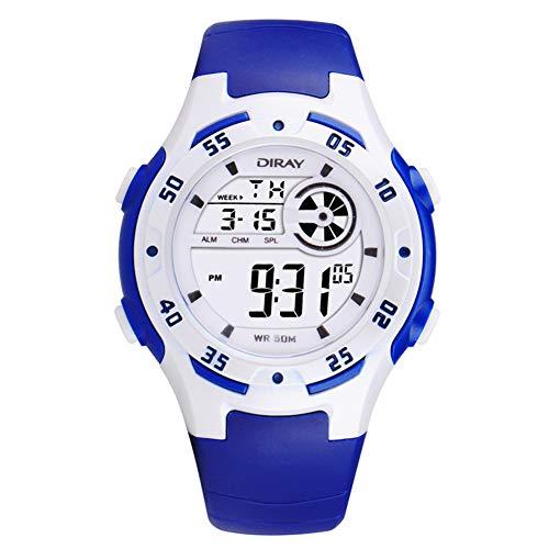 Relógio Esportivo Eletrônico Multifuncional Szkn Moderno e Fofo para Crianças Relógio Impermeável com LED Luminoso, Azul